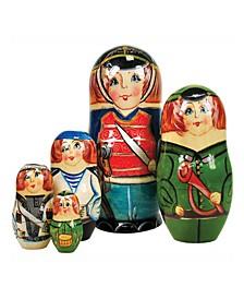 Nutcracker Prince 5 Piece Russian Matryoshka Stacking Dolls Set