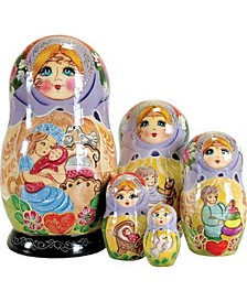 Mother Love 5 Piece Russian Matryoshka Wooden Nested Dolls Set