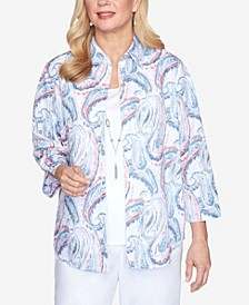 Plus Size Paisley Two-for-One 3/4 Sleeve Woven Top with Detachable Necklace