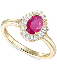 Emerald (3/4ct. t.w.) & Diamond (1/4 ct. t.w.) Ring in 14k Gold (Also Available in Sapphire, Tanzanite & Ruby)