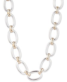 "Two-Tone Oval Link Collar Necklace, 16"" + 3"" extender"