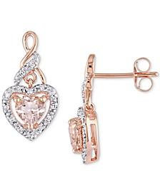 Morganite (1 ct. t.w.) & Diamond (1/8 ct. t.w.) Heart Drop Earrings in 10k Rose Gold