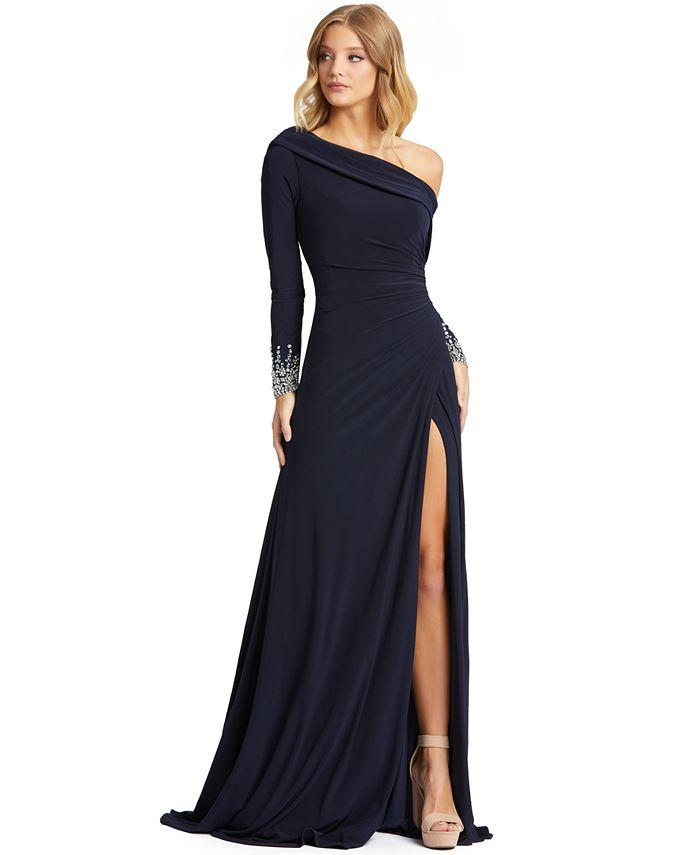 MAC DUGGAL - One-Shoulder Long-Sleeve Gown
