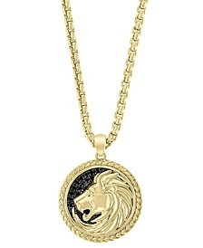 """EFFY® Men's Black Sapphire Lion 22"""" Pendant Necklace (1/4 ct. t.w.) in 18k Gold-Plated Sterling Silver"""