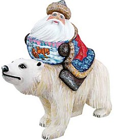 Woodcarved Hand Painted Dr Zhivago Santa Figurine