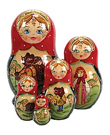 5 Piece Golden Egg Russian Matryoshka Nested Dolls Set