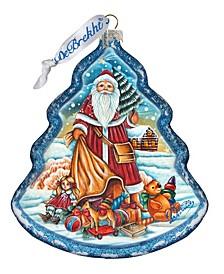 Nordic Santa Tree Glass Ornament