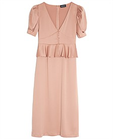Solid Puff-Sleeve Midi Dress, Created for Macy's