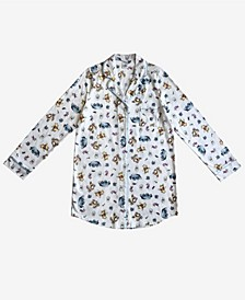 Pooh Friends Notched Collar Button Down Women's Sleep Shirt