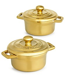 Gold-Tone Stoneware Cocottes, Set of 2, Created for Macy's
