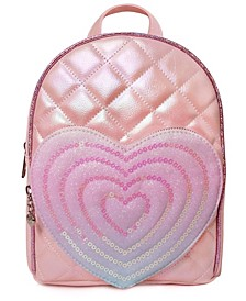 Girls Quilted Mini Backpack with Heart Pocket