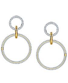 Two-Tone Crystal Interlink-Ring Drop Earrings
