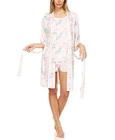 Flora Women's Floral Printed 3pc Travel Pajama Set