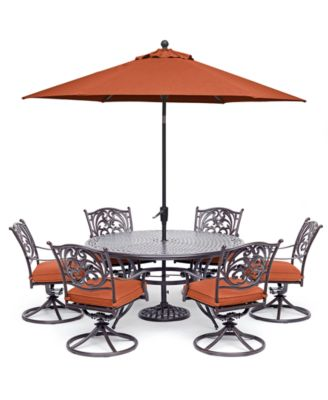 """Chateau Outdoor Aluminum 7-Pc. Set (60"""" Round Dining Table & 6 Swivel Rockers), Created for Macy's"""