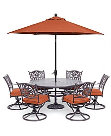 "Chateau Outdoor Aluminum 7-Pc. Set (60"" Round Dining Table & 6 Swivel Rockers), Created for Macy's"