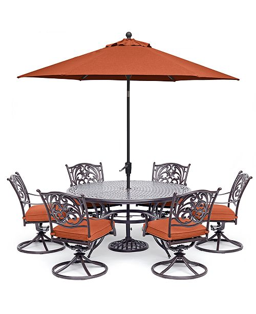 """Furniture Chateau Outdoor Aluminum 7-Pc. Set (60"""" Round Dining Table & 6 Swivel Rockers), Created for Macy's"""