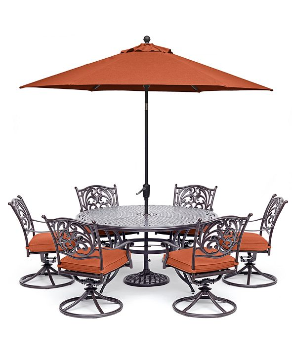 "Furniture Chateau Outdoor Aluminum 7-Pc. Set (60"" Round Dining Table & 6 Swivel Rockers), Created for Macy's"