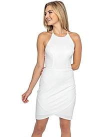 Juniors' Tie-Back Shimmer Bodycon Dress