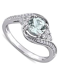 Aquamarine (3/4 ct. t.w.), White Topaz (1/4 ct. t.w.) & Diamond (1/10 ct. t.w.) Swirl Ring in 10k White Gold