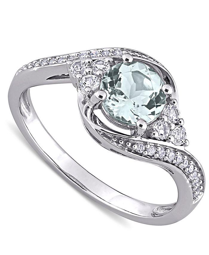 Macy's - Aquamarine (3/4 ct. t.w.), White Topaz (1/4 ct. t.w.) & Diamond (1/10 ct. t.w.) Swirl Ring in 10k White Gold