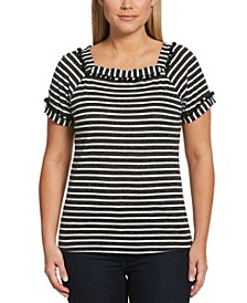 Striped Short Sleeve Square Neck Tee Shirt