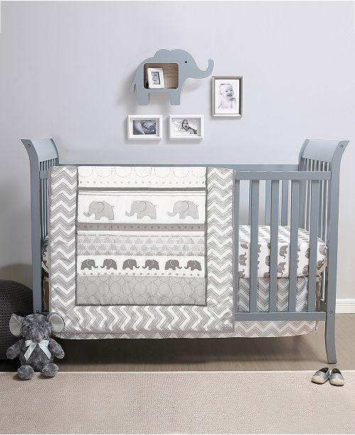 The Peanutshell PS Elephant Walk 3-Piece Crib Bedding Set
