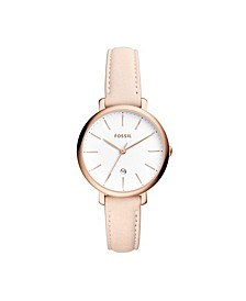 Jacqueline Three-Hand Date Pastel Pink Leather Watch 36mm