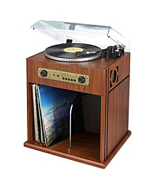 SB6059 Stereo Turntable with Bluetooth Receiver and Record Storage Compartment