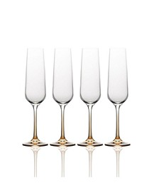 Gianna Ombre Amber Champagne Flute Glasses, Set of 4