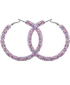 """Silver-Tone Large Sequin Hoop Earrings, 2-3/8"""""""