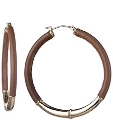 Gold-Tone Medium Leather Hoop Earrings, 2""