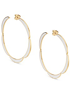 Gold-Tone Large Enamel Scalloped-Edge Hoop Earrings, 2.6""