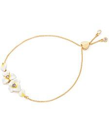 Gold-Tone Cubic Zirconia & Enamel Flower Bolo Bracelet
