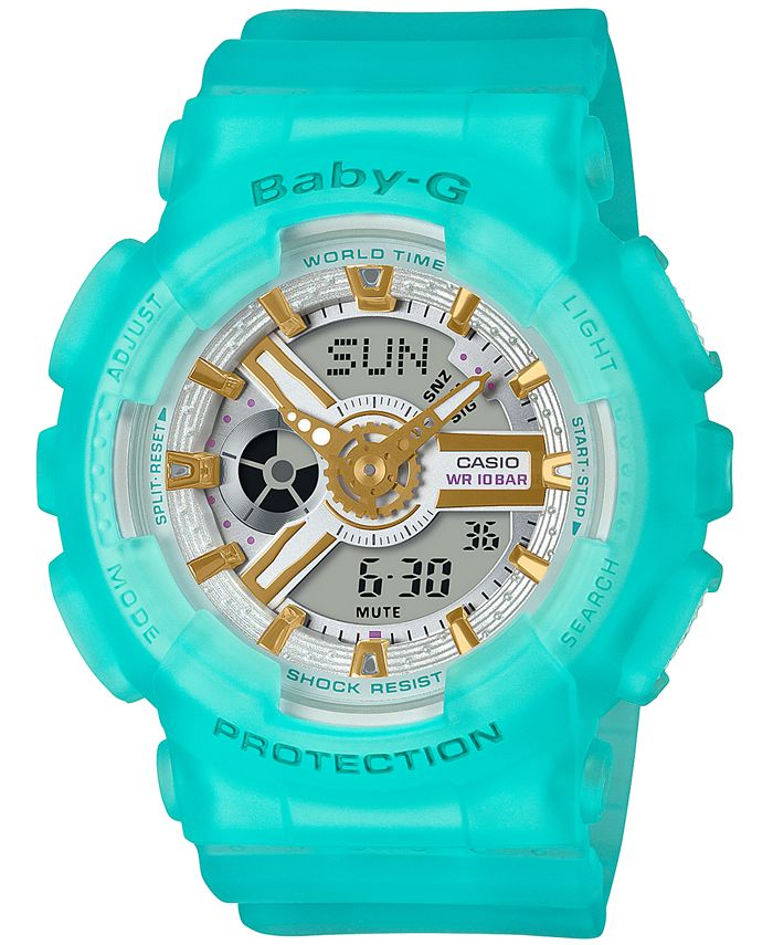 G-Shock - Women's Analog-Digital Frosted Blue Resin Strap Watch 43.4mm