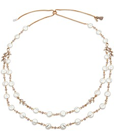 """Gold-Tone Glass Bead & Crystal 32"""" Layered Necklace"""