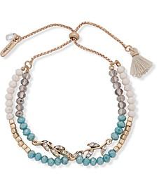 Gold-Tone Bead & Tassel Bolo Bracelet
