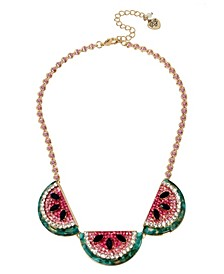 """Watermelon Frontal Necklace in Gold-tone Metal, 17"""" + 3"""" Extender"""