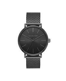 Men's Jayne Three-Hand Black Stainless Steel Mesh Watch 42mm MK7152