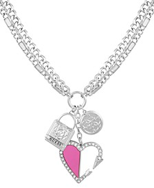 """Silver-Tone Crystal Heart Charm Pendant Necklace, 24"""" + 2"""" extender"""