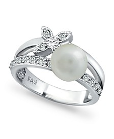 Imitation Pearl Cubic Zirconia Butterfly Ring in Fine Silver Plate