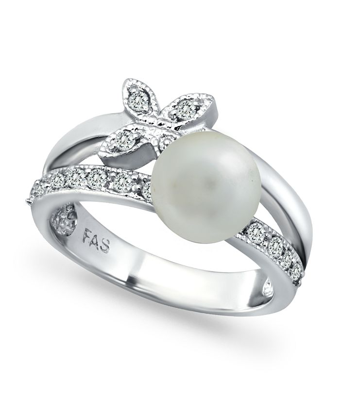 Macy's - Imitation Pearl Cubic Zirconia Butterfly Ring in Fine Silver Plate