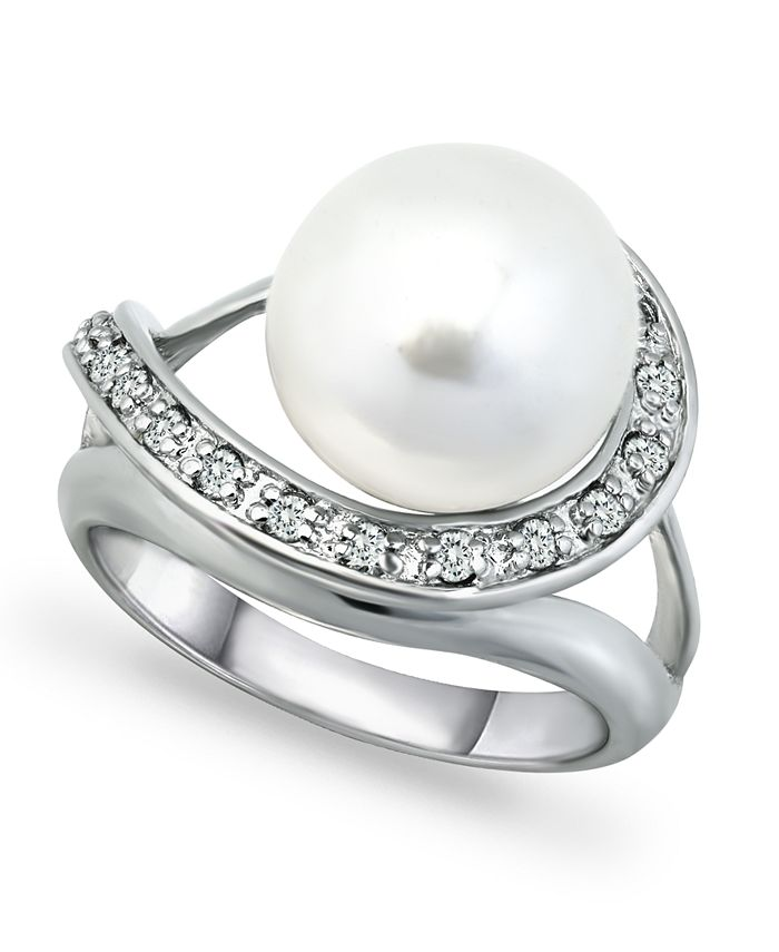 Macy's - Imitation Pearl and Pave Cubic Zirconia Swirl Wrap Ring in Fine Silver Plate