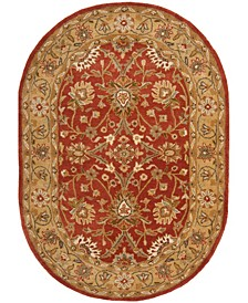 """Antiquity At249 Rust and Gold 7'6"""" x 9'6"""" Oval Area Rug"""