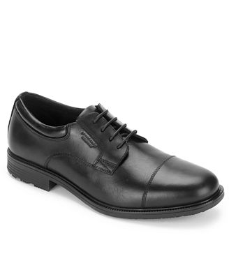 Mens Essential Details Ii Bike Black Leather Derbys Rockport
