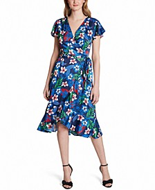 Printed V-Neck Faux-Wrap Dress