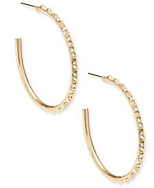 Medium Pavé C-Hoop Earrings, 1.7""