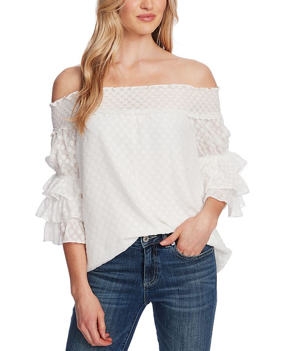 CeCe Clip-Dot Off-The-Shoulder Top
