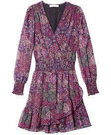Mega Patchwork Printed Faux-Wrap Dress