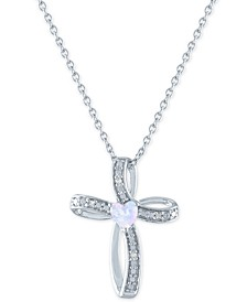 "Lab-Created Opal (4mm) & Diamond Accent Cross Your Heart Pendant Necklace in Sterling Silver, 16"" + 2"" extender"