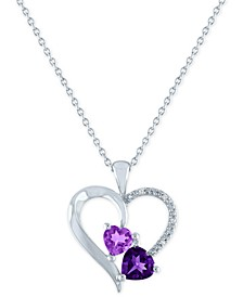 "Lab-Created Amethyst (1-1/4 ct. t.w.) & Diamond Accent Heart Pendant Necklace in Sterling Silver, 16"" + 2"" extender"
